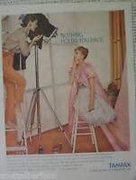 TAMPAX TAMPONS PHOTOGRAPHY STUDIO CAMERA PRINT AD 1958