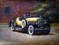Vintage Yellow Convertible Original Oil Painting