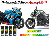 MOTORCYCLE AEROSOL PAINT ALL MAKES & COLOURS  KIT 5 .