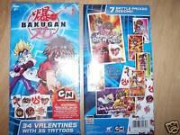 Box of 34 Bakugan Battle Valentine's Day Cards w Tattoo