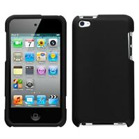 Rubber Black Hard Case Snap on Cover Apple iPod Touch 4