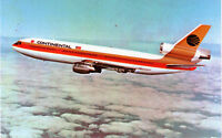 VINTAGE AVIATION CONTINENTAL AIRLINES DC-10 POSTCARD