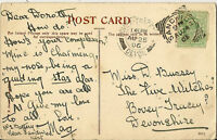 SANDWICH : 1905 Squared Circle cancel  on P.Postcard
