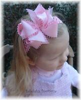 PINK PICOT TAFFETA HAIR BOW HEADBAND OR CLIP EASTER