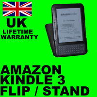 BLACK FLIP STAND LEATHER CASE COVER FOR AMAZON KINDLE 3