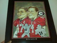 Georgia Bulldogs David Greene & David Pollack artwork Dave Helwig UGA Dawgs