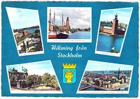 Vintage Chrome Postcard Halsning fran Stockholm Sweden 1971