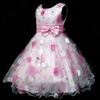 Pinks Christening Wedding Party Flower Girls Pageant Dresses SZ 2-3-4-5-6-7-8-9Y