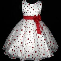#R3117 4Nov_UK Red Christmas Wedding Party Flowers Girls Dress SIZE 3-4-5-6-7-8Y