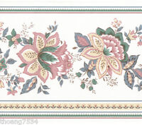 Victorian Paisley Jacobean Floral Flower Mauve Pink on White Wall paper Border