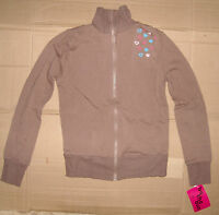 NWT Motionwear Long Sleeve Dance Jacket Brown W/Blue and Pink hearts Ladies SOFT