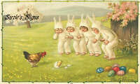 Fabric Block Vintage Easter Postcard Printed onto Fabric Easter Bunny Costumes