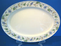 Sweet Violet by Gorham China Oval Serving Platter green vine blue swirled