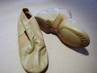 GIRLS YOUTH CAPEZIO TAN BEIGE SPLIT SOLE JAZZ DANCE SHOES SIZE 5 CG15 LEATHER