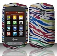 For TracFone Net10 LG 800g Rubberized HARD Case Phone Cover Silver Rainbow Zebra