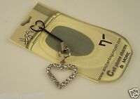 Silvertone heart with clear crystals  Cell phone charm purse strap