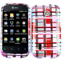 For AT&T Huawei Fusion U8652 Hard Cover Red Pink White Blocks Faceplate Case