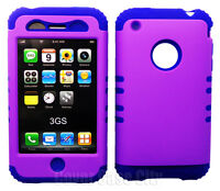For Apple iPhone 3 3S 3GS Impact Hybrid Hard Soft Case Cover Blue Skin & Purple