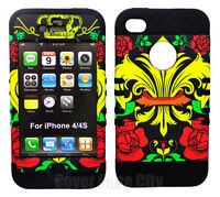 Royal Badge Crown Black Skin Hybrid Impact Cover Case for Apple iPhone 4 S 4S 4G