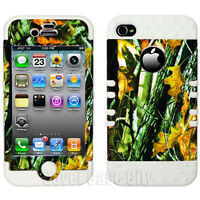For Apple iPhone 4 4S Hybrid White Rubber Impact Case Hunter Branch Camo Cover