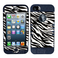 For Apple iPhone 5 Black Zebra Print Skin Hard Case with Gray Silicone Cover