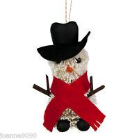 *GISELA GRAHAM 12CM SNOWMAN BRISTLE CHRISTMAS FESTIVE HANGING TREE DECORATION*