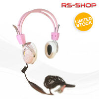 Pink PC Computer Headphones Headset 3.5mm Stereo With Mic For MSN Skype New