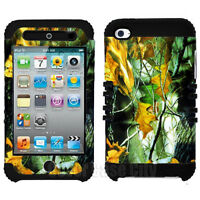 For Apple iPod Touch 4 4th Gen Hybrid Black Case Dry Leaves Camo Protector Cover