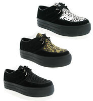 New Womens Hucksters Flat Wedge Platform Lace Up Creepers Shoes Goth Size 3-8 UK