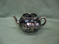Antique  Teapot  Made in England Brown with Silvertone Violets