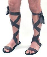 New Mens Brown Roman Greek Gladiator Fancy Dress Costume Accessory Sandals Shoes