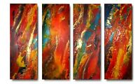 XL SET OF 4 ORIGINAL PAINTINGS ON CANVAS - TEXTURED BRIGHT MODERN ART C A JASPER