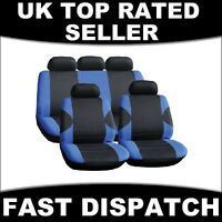 UNIVERSAL FULL CAR SEAT COVER SET RACING STYLE BLUE BLACK WASHABLE