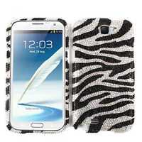 For Samsung Galaxy Note II 2 N7100 Hard Case Black Zebra Print Diamond Cover
