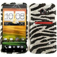 For Sprint HTC Evo 4G LTE Protector Phone Case Black Zebra Diamond Hard Cover