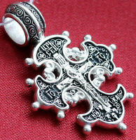 RUSSIAN GREEK ORTHODOX ICON CROSS,SILVER 925. OLD STYLE - CELTIC. CHRISTIAN GIFT