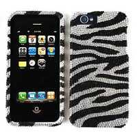 Black White Zebra Print Diamond Hard Cover for Apple iPhone 5 6th Gen Phone Case
