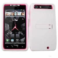 2 in 1 Heavy Duty White Hard Cover Pink Soft Case For Motorola Droid RAZR XT912