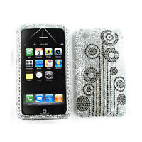 Black Flowers On White Diamond Phone Case Hard Cover For Apple iPhone 3G 3GS