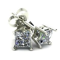 .66Ct Square Princess Cut Natural Diamond Stud Earrings In 14K Gold
