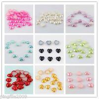 Free shipping 100 pcs 10mm Heart Shape Half Pearl Beads Flat Back Scrapbook