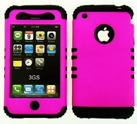 Black Silicone Skin Case + Pink Phone Hybrid Cover For Apple iPhone 3 3G 3GS