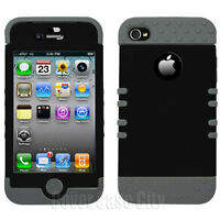 Gray Rubber Hybrid Impact Protector Black Hard Cover Case Apple iPhone 4 4S 4GS