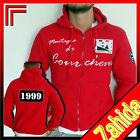 Felpa sudore T-Shirt Rosso Con Cappuccio Da Uomo Zip S M L XL XXL NUOVO