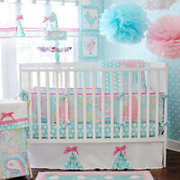 My Baby Sam 4 Piece Nursery Crib Bedding Set Pixi Baby Aqua Includes Bumper NEW