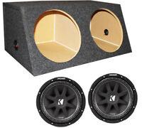 "2) KICKER 43C124 12"" 600W Car Audio Subwoofers Subs 4 Ohm + Dual Sealed Sub Box"