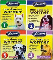 Johnsons One Dose Easy Wormer Tablet Worming Dog Dewomer Small Medium Large