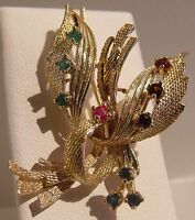 VINTAGE 14K YELLOW GOLD KABANA EMERALD RUBY GARNET SAPPHIRE BROOCH PIN 6.3gr