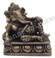 Reclining Ganesh brass mini elephant god Ganapati hindu Laiton Miniature Ganesh