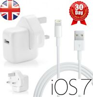 For iPhone 5 Adapter USB Wall Charger Power For New iPad 4 iPad Mini UK Plug